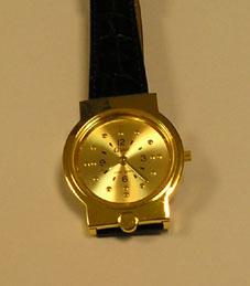 Hodinky náramkové hmatové pánské-žlutý kov. ID  514. Typ pomůcky  přístroje  pro časomíru. Určení pomůcky  pro odstraňování informační bariéry f167969150